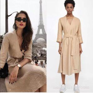 Zara 100% Linen A-Line Midi Dress With Belt
